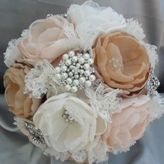 Items similar to Large vintage fabric bouquet - coral shades, ivory, tan and champagne loaded with crystals and brooches - deposit listing on Etsy Wedding Looks, Perfect Wedding, Diy Wedding, Dream Wedding, Wedding Day, Brooch Bouquets, Floral Bouquets, Wedding Bouquets, Wedding Flowers