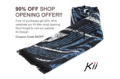 OFF ⊿ Shop Opening promotional offer on all our scarves for the first ten purchases ⊿ by KiiMen on Etsy Coupon Codes, Etsy Store, Scarves, Man Shop, Shopping, Scarfs