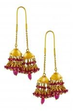 Tribebyamrapali-18k Gold Ruby Hanging Jhumki Earrings