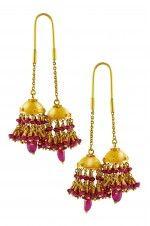 Tribebyamrapali-18k Gold Ruby Hanging Jhumki Earrings