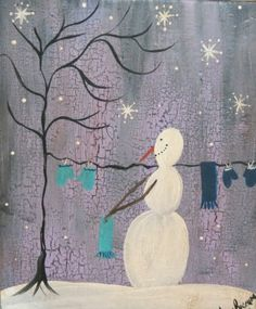 Original Primitive Folk Art Painting Snowman Winter Wash Scarf Mittens
