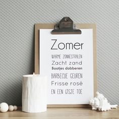 Free Printable: Zomer - Emi.frl Summer Decoration, Summer Books, Some Quotes, Letter Board, Party Favors, Free Printables, Qoutes, Place Card Holders, Bullet Journal