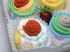 NEW - Onesies, Washcloths, Socks Cupcake Set - 8 Piece Baby Shower Gift Set. $35.00, via Etsy.