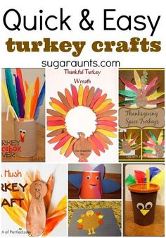 Quick and easy turkey crafts for last minute craft time. This would be great for Thanksgiving day!