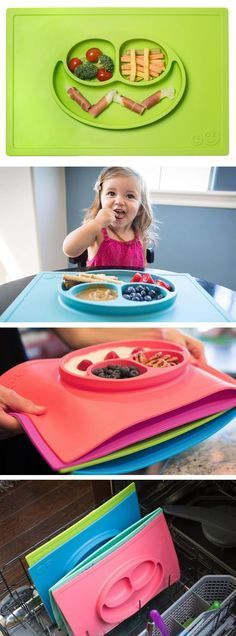 Happy Mat placemat & plate in one. Suctions directly to the table and stackable for storage. Must have for toddlers!