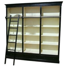LIBRARY BOOKCASE WITH SLIDING LADDER THREE DRAWERS PAINTED BLACK WHITE - TFI-TN-250-PW Cost pound 1195 00 Among the earliest known cabinets built