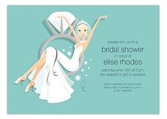 Blonde Blue Swinging Ring Bride Invitation