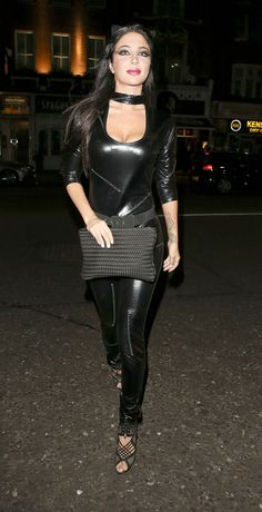 Tulisa Contostavlos was spotted at Bodo's Schloss in Kensington on October, Tulisa was wearing a black leather body hugging catsuit. Tulisa Contostavlos, Leggings, Celebs, Celebrities, Rock, Catsuit, Black Leather, Female, Gallery