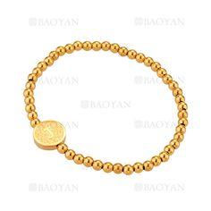 pulsera de bolitas con letra J de dorado en acero-SSBTG1094304