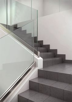 Modern Staircase Design Ideas - Modern stairs come in lots of design and styles that can be genuine eye-catcher in the various location. We have actually put together ideal 10 modern versions of stairs that can offer. Glass Stair Balustrade, Tiled Staircase, Staircase Handrail, Tile Stairs, Glass Stairs, Interior Staircase, Floating Staircase, Glass Railing, House Stairs