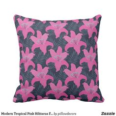 Modern Tropical Pink Hibiscus Flower Throw Pillow