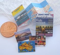 Dollhouse Australia Travel Map Magazine Postcards 12th Scale Miniature