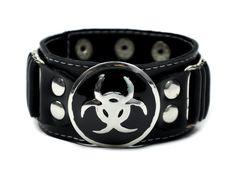 Bio Hazard Industrial Cyber Goth Wristband Metal
