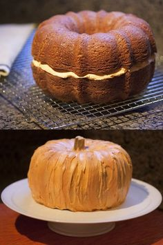 To make a pumpkin #cake: Bake 2 spice or pumpkin flavored bundt cakes. Turn one over & frost with orange colored vanilla frosting. Place 2nd cake on top and frost both. Use whatever you'd like as the stem. That's it! #Halloween #thanksgiving