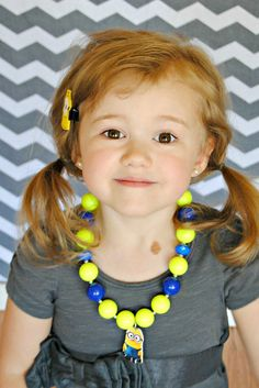 Despicable Me Minion inspired Chunky Bubblegum Bead Necklace- Baby Girl Necklace- Toddler Girl Necklace- Kids Jewelry