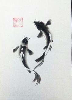 www.sumie.bugei.eu Rebeca Roca Japanese Ink Painting, Sumi E Painting, Chinese Landscape Painting, Chinese Painting, Japanese Art, Koi Art, Fish Art, Pintura Zen, Plakat Design