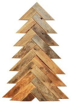 Herringbone Barn Wood Christmas Tree, Large - rustic - Christmas Decorations - Grindstone Design