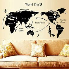 Nice ** KitMax (TM) Detachable Personalised Map of World Nursery Toilet Kitchen Bed room Eating Dwelling Room Mirror Workplace Dorm Residence DIY Trendy Artwork Wall Decor Stickers