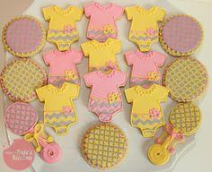 pink, yellow, gray baby shower cookies