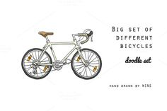 Big set of different bicycles. by WINS Doodle shop on @creativemarket