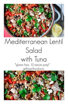 {#AD} This hearty Mediterranean Lentil Salad comes together in about 10 minutes so it's perfect for meal prep! It's made with some pantry staples, like canned lentils and tuna. Plus, there are a few special ingredients like sun-dried tomatoes, black olives, feta and bell pepper. It's drizzled with an olive oil and lemon mixture for one delicious bite! #lentilsalad #mediterraneanlentilsalad #mediterraneansalad #lentilrecipe #cannedtuna #mealprep #glutenfree #picnicrecipe  via @Girlheartfood