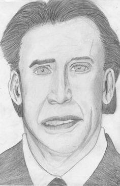 nicolas cage by carolehug on DeviantArt Nicolas Cage, Bad Fan Art, Worst Celebrities, Fan Drawing, Celebrity Portraits, Cartoon Shows, Image Macro, Comedians, Funny