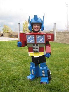 Homemade Optimus Prime costume for kids.