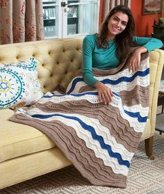 The Wonderfully Wavy Knit Throw is the perfect gift for someone you love. This cozy knitted blanket features soothing brown, white, and blue waves. Since this pattern is easy, you can quickly work it up and use it however you please. Afghan Crochet Patterns, Knitting Patterns Free, Knit Patterns, Free Knitting, Free Pattern, Knitting Ideas, Baby Patterns, Crochet Ripple, Knit Or Crochet