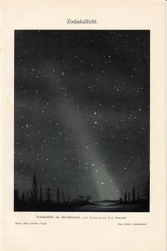 1908 Antique ZODIACAL LIGHT fine print, Starry Night,  original antique 104 years older astronomy lithograph