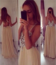 Sexy Spaghetti Straps V Neck Champagne Chiffon Crytal Backless Prom Dresses Evening gown,Champagne prom dress,beaded Cocktail Dresses,sexy Graduation Dresses,open back evening dresses,V Neck prom dress