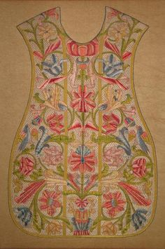 Late 17th / early 18th century Italian silk embroidered chasuble front