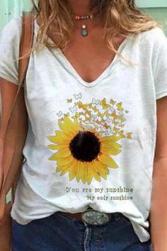 Casual Paneled V-neck Short Sleeves Sunflower Print T-shirt - Diorer T Shirt Flowers, Flower Shirt, Womens Fashion Online, Latest Fashion For Women, Blouses For Women, T Shirts For Women, Sunflower Print, Stylish Tops, Basic Tops