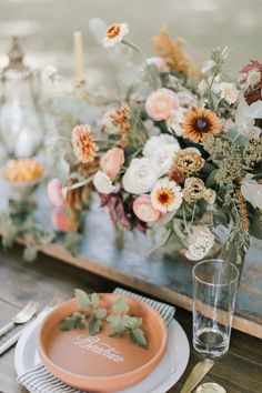 Summer outdoor wedding inspiration - terra cotta & white calligraphy place setting with blue striped napkin inspiration summer terracotta place setting Wedding Table Centerpieces, Flower Centerpieces, Reception Decorations, Centerpiece Ideas, Summer Table Decorations, Masquerade Centerpieces, Wedding Arrangements, Floral Arrangements, Floral Wedding