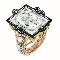 """DIOR """"Appartements de Mesdames Cassette"""" ring in yellow gold, platinum, pink gold, scorched silver and diamonds."""