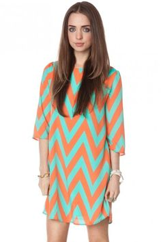 If only I wasn't banned from shopping right now!  Forever zig zag shift dress in cantaloupe