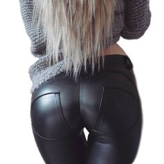 High Elastic PU Leather Fitness Leggings Women Sexy Freddy Pants Push Up Women Hip Fitness Legging Skinny Pants for Winter PK65