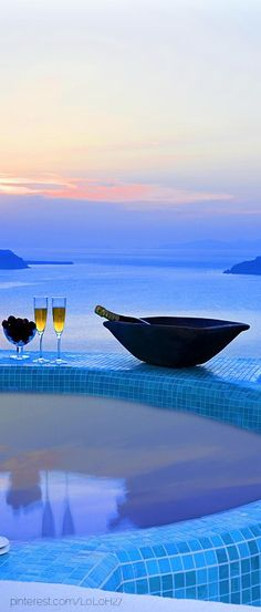 Chilled Moet, fresh fruit, and passionate romance between the two of us, as we bathe together, alone on our island...
