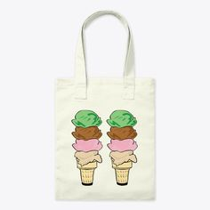 Ice cream tote bag with a mint green, chocolate brown, strawberry pink and caramel beige, stacked ice cream cone design. Ice cream beach towels available in the same design. Ice Cream Beach, Lifestyle Shop, Chocolate Brown, Canvas Tote Bags, Mint Green, Towels, Caramel, Strawberry