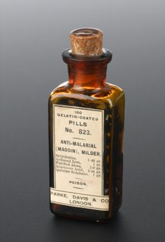 Bottle of 100 anti-malarial pills, London, England, Antique Bottles, Vintage Bottles, Pill Bottles, Perfume Bottles, Medical Packaging, Vintage Medical, Bottle Stoppers, How To Stay Healthy, The Cure