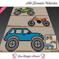 All Terrain Vehicles crochet blanket pattern; C2c Crochet Blanket, Crochet Blanket Patterns, Crochet Blankets, Graph Crochet, Boy Crochet, Crochet Rugs, Crotchet, Terrain Vehicle, Graph Design