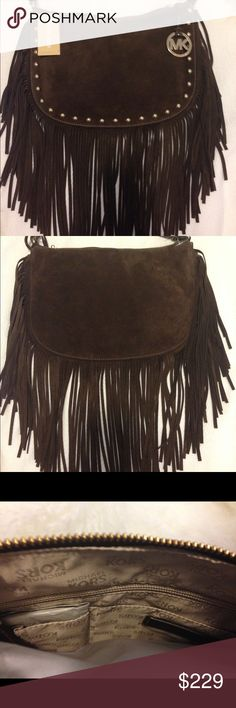 Michael Kors 'Dakota' Suede Fringe Shoulder Bag Michael Kors 'Dakota' Medium Suede Fringe Shoulder Bag in espresso brown with goldtone grommets and goldtone hanging MK logo charm.  Super cute!! Very posh & perfect for Winter and Spring - espresso brown color soft suede.  Brand new with tags!! Retails $248 but is sold out everywhere. Limited edition collection. Comes from smokefree/petfree household Michael Kors Bags Shoulder Bags