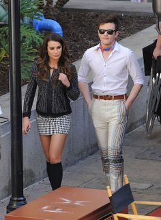 """Lea Michele and the rest of the cast of """"Glee"""" films yet another memorable season finale episode in Burbank Ca. Featuring: Lea Michele, Chris Colfer Where: Burbank, California, United States When: 01 May 2014 Credit: Cousart/JFXimages/WENN.com"""