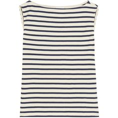 Saint Laurent Striped cotton-jersey tank ($455) ❤ liked on Polyvore featuring tops, shirts, tank tops, tanks, blusas, cotton jersey, striped boatneck top, boat neck shirt, cut out tank and striped tank top