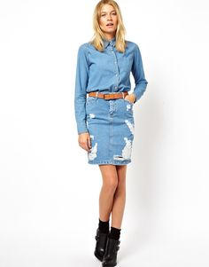ASOS Denim Skirt in Ripped Vintage Wash