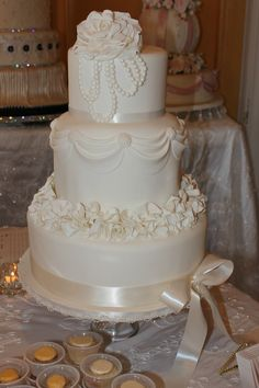 Vintage Wedding Cake with Pearls and Ruffles