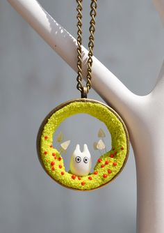 Miniature Totoro Necklace, Totoro Necklace, Miniature Totoro Pendant, HandMade Totoro Necklace, Totoro Jewelry, Gift for her, Anime Jewelry by RainOfJoy on Etsy https://www.etsy.com/listing/230850711/miniature-totoro-necklace-totoro