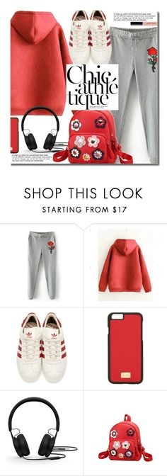 """Sporty"" by beebeely-look ❤ liked on Polyvore featuring adidas Originals, Dolce&Gabbana, Beats by Dr. Dre, Bobbi Brown Cosmetics, red, adidas, sporty, sportystyle and twinkledeals"