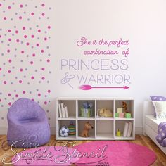 Easy girl's room makeover, pick your colors! Polka Dot vinyl decals sold separately. Make your little girl feel special and strong with this beautifully designed vinyl wall decal. Many sizes and color combinations available.