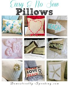 Easy and No Sew Pillows: burlap, ruffle, paint, sweater, dish towels