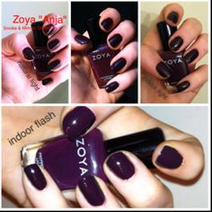 Two coats of Zoya Anja. It's wine colored in the bottle but looks more eggplant on the nails. It reminds me of OPI Lincoln Park After Dark. A beautiful alternative to black!